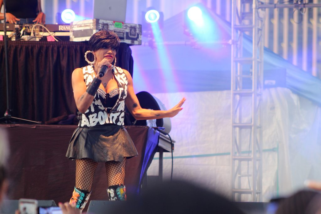 "Salt-N-Pepa featuring ""Salt"" (aka Cheryl James), performing at the Empire State Plaza in Albany, NY Wednesday, August 14, 2019"