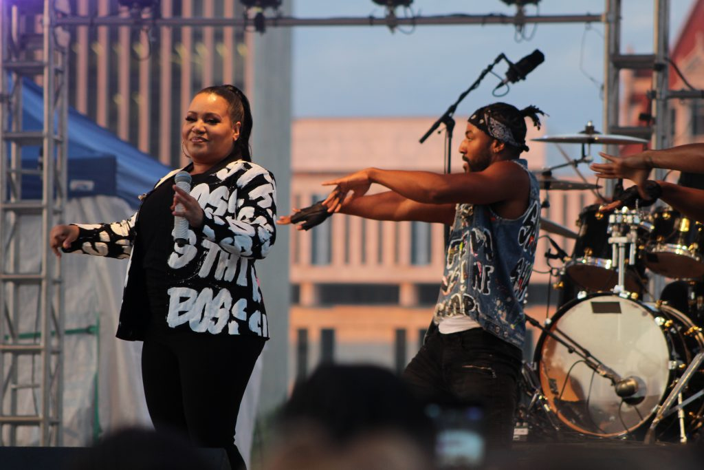 "Salt-N-Pepa featuring ""Pepa"" (aka Sandra Denton), performing at the Empire State Plaza in Albany, NY Wednesday, August 14, 2019"