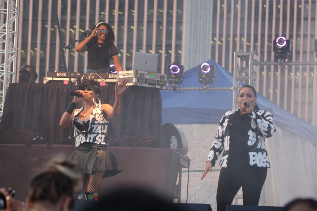 Salt-N-Pepa with their DJ, performing at the Empire State Plaza in Albany, NY Wednesday, August 14, 2019