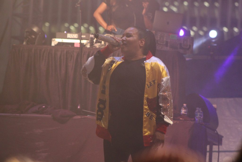 "Salt-N-Pepa, featuring ""Pepa"" wearing the ""Push It"" gold jacket at the Empire State Plaza in Albany, NY Wednesday, August 14, 2019"