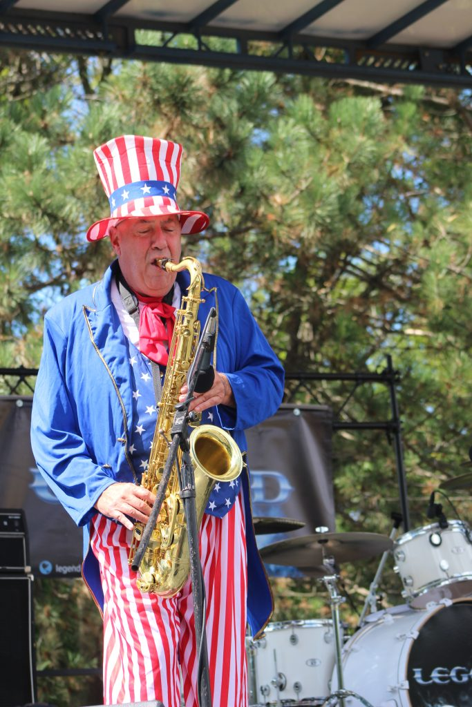 """Uncle Sax"" (Luke McNamee) performing as part of the Uncle Sam Birthday Bash"