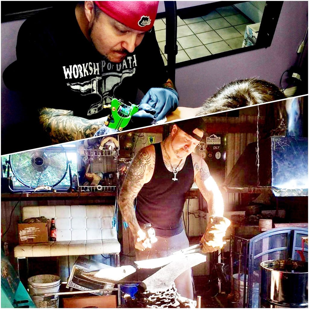 Eric Radliff tattooing and forging.
